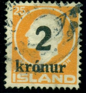 ICELAND #149, 2kr Ovpt, used, light internal wrinkle, Scott $190.00