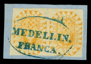 COLOMBIA 1866 Coat of Arms 5c org Sc# 45 used XF PAIR MEDELLIN FRANCA on piece