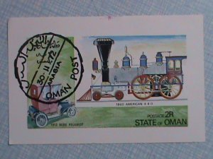 1972 STATE OF OMAN: HISTORICAL CLASSIC TRAIN AND CAR S/S