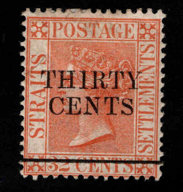 Straits Settlements Scott 76 MH* surcharged stamp