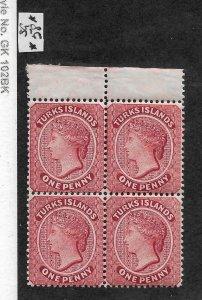 Turks Is 1889,Victoria One Penny Block Perf 14,wmk Crown CA,Sc # 45,VF MNH**OG