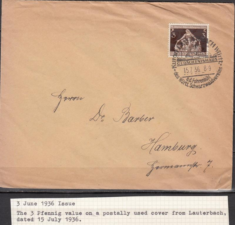 Germany - 15.7.1936 3pf Congress on cover Lauterbach - Hamburg (1856)