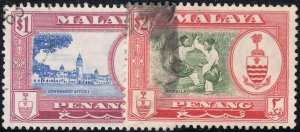 Penang 1960 QEII $1 and $2 FU