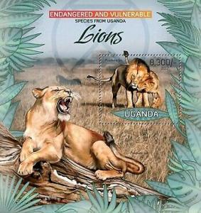 Uganda - Endangered Species - Lions - Souvenir Sheet - 21D-040