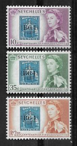 Seychelles # 195-97  Stamp Centenary  (3)  VLH Unused