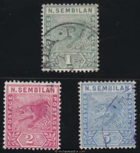 1891-94 Malaya Negri Sembilan Definitives Set (3), SG 2-4, used