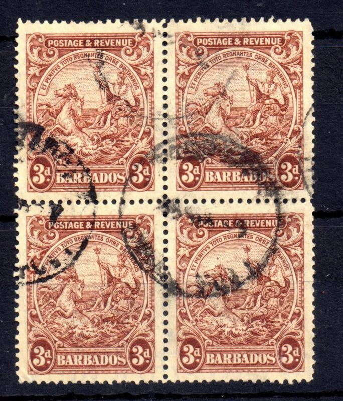 Barbados KGVI 3d fine used block of 4 SG252 WS11528