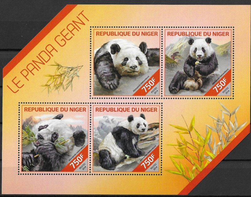 Niger MNH S/S Panda Bears 2014