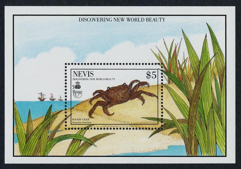 Nevis 614-5 MNH Crabs, Ships, UPAE, Discovery of America