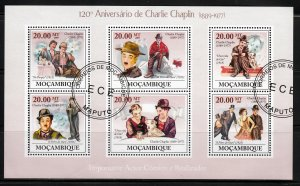 Mozambique, Sc 1880, CTO-NH, 2009, 120th Anniv. of Charlie Chaplin