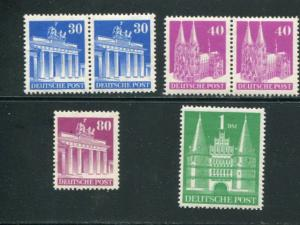 Germany #649a,651a pairs, 655a,658a perf 14 NH  VF