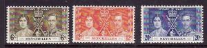 Seychelles-Sc#122-4-unused light hinged KGVI Coronation set-Omnibus-1937-