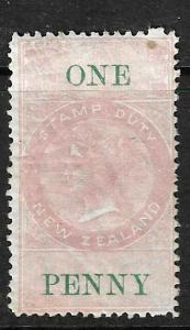 NEW ZEALAND 1867 1d LILAC/GREEN QV FISCAL MNH DIE 1