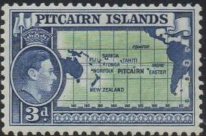 Pitcairn Islands 1940 3d Map of Pitcairn Is. and Pacific MH