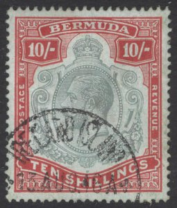 Bermuda 1918 10s Grn & Carm on pl grn Wmk CA SG 54 Scott 53 VFU Cat £350($455)