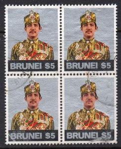 Brunei 1975 $5 BLOCK of 4 SG 232 used CV £72