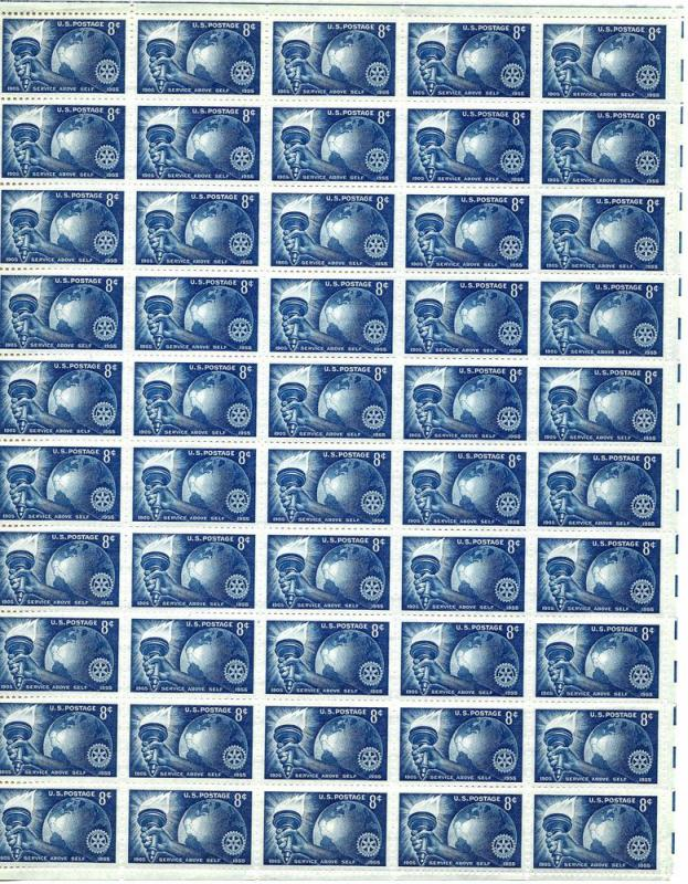 Rotary Club 50 year commemorative 40 stamp sheet