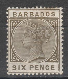 BARBADOS 1882 QV 6D