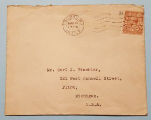 1933 BBC MAIL COVER & LETTER FROM LONDON TO FLINT MICHIGAN W/ STAMP