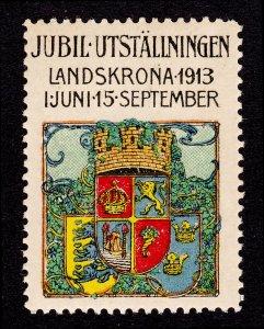 SWEDEN REKLAMEMARKE POSTER STAMP 1913 JUBILEE EXHIBITION LANDSKRONA