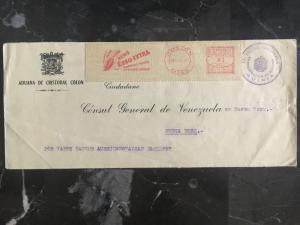 1935  Venezuela to Consul NYC USA Customs cover Stampless Official Esso Oil
