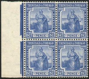 TRINIDAD & TOBAGO-1916 2½d Bright Blue Block of 4 Sg 151a tone spot UM V48546