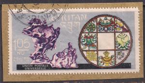 Bhutan 105nu used stamp ( F1477 ) on paper