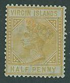 Virgin Islands SC#12 (SG26x) Victoria 1/2p WMK REVERSED MH