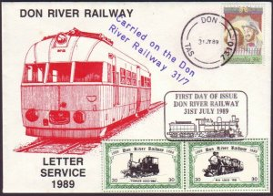 DON RIVER RAILWAY (TASMANIA) - 1989 LETTER SERVICE COVER - CINDERELLA (RU5273)