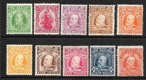 NEW ZEALAND 1909-12  KEVII  SET 10   MLH