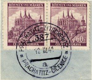 BÖHMEN u. MAHREN 1941 PRACHATITZ-ZITSCHENITZ TPO n°387a bilingual CDS /2xMi.27