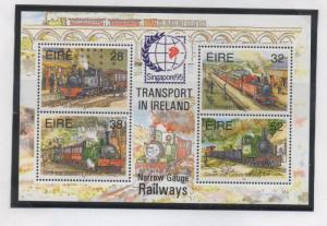 Ireland Sc 959b 1995 Narrow Guage Railways stamp sheet mint NH Singapore ovpt