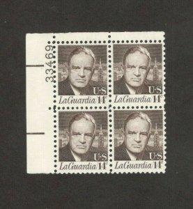 1397 Fiorello H. LaGuardia Plate Block Mint/nh FREE SHIPPING