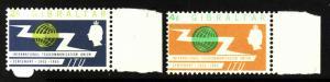 Gibraltar-Sc#167-8-unused very light hinged QEII-ITU omnibus-1965-