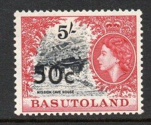 Basutoland 1961 QEII 50c on 5R type I SG 67 mint