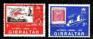 Gibraltar-Sc#238-9- id5-used set-Stamp on Stamp-Exhibition-1970-