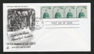 SCOTT US #1616, 9 CENT CAPITOL DOME ARTCRAFT FDC 1976, 4 STAMPS COIL LINE PAIR