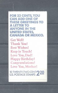 #BK155, 22c Get Well, Thank You, etc., complete $2.20 booklet⭐⭐⭐⭐⭐⭐