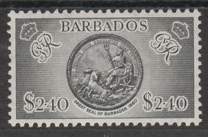 BARBADOS 1950 GVIR ARMS $2.40 TOP VALUE