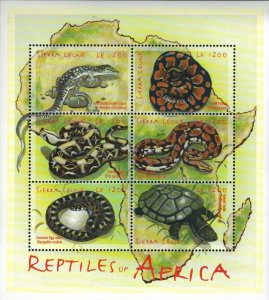Sierra Leone MNH S/S Reptiles Of Africa 6 Stamps