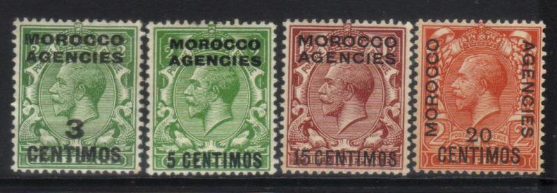 MOROCCO AGENCIES 1914 SPANISH CURRENCY KGV 4 MH VALUES