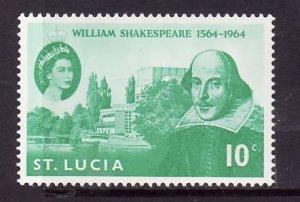 St Lucia-Sc#196-unused hinged Omnibus set-QEII-Shakespeare-1964-
