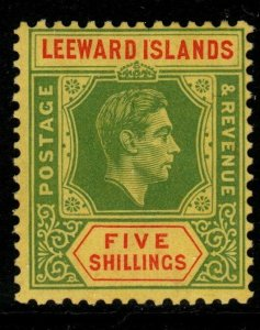 LEEWARD ISLANDS SG112 1938 5/= GREEN & RED/YELLOW MTD MINT