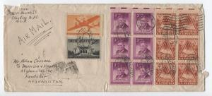 1948 Flushing NY to Afghanistan cover 50 cent transport, 3ct Will Rogers [y3200]