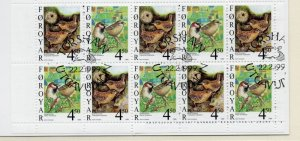 Faroe Islands Sc 351a 1999 Birds stamp booklet pane in booklet used