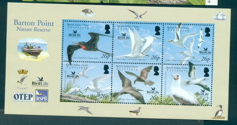 B.I.O.T. - Sc# 325. 2006 Birds. MNH Sheet. $16.00.