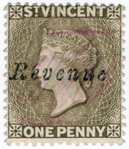 (I.B) St Vincent Revenue : Duty Stamp 1d