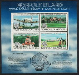 Norfolk Airplanes Helicopter Bicentenary of Manned Flight MS SG#MS308 SC#313a