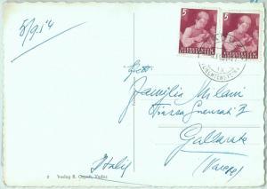 67616 - LIECHTENSTEIN - Postal History - STAMPS on POSTCARD  - Gastronomy  1954
