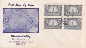 Canada # 277  Cacheted First Day Cover, block of four,